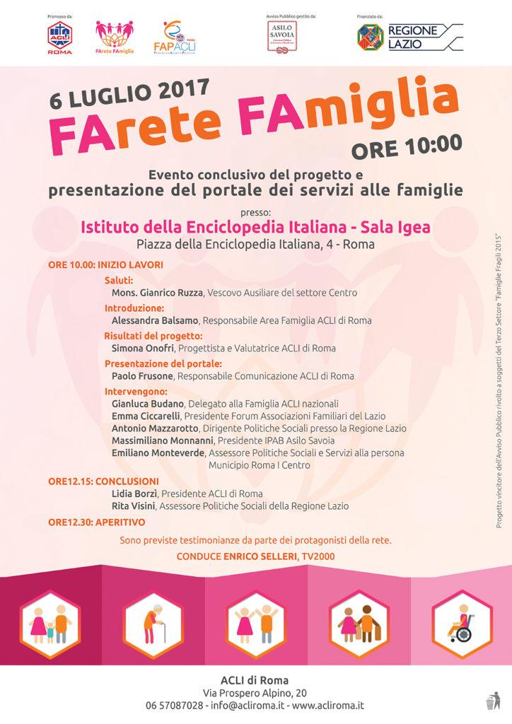 Evento conclusivo del progetto FArete FAmiglia